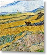 Enclosed Field With Ploughman -  Metal Print