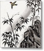 A Bird And Bamboo Leaves, Ink Painting Metal Print