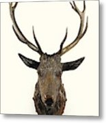 A Carved Wooden Red Deer Trophy With Red Deer Antlers, 19th Century Metal Print