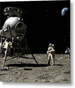 A Cosmonaut On The Moon Metal Print