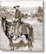 A Cowboy On Horseback, Photo, 19th Century Metal Print