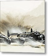 A Crippled Halifax Bomber Lands On The Ice Metal Print