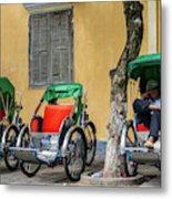 A Cyclo Driver Takes A Nap, In Hoi An, Vietnam. Metal Print