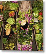 A Floating Market On A Canal In Metal Print