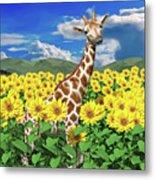 A Friendly Giraffe Hello Metal Print