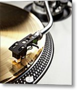 A Gold Record On A Turntable Metal Print