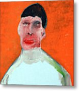 A Man With An Orange Background Metal Print