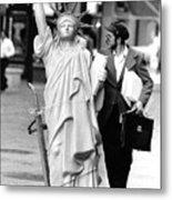 A Model Of Lady Liberty Was Being Sold Metal Print