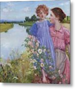 A Mother And Child By A River With Wild Roses 1919 Metal Print