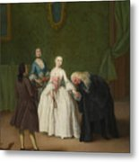 A Nobleman Kissing A Lady S Hand  Metal Print