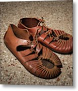 A Pair Of Roman Sandals Made Of Leather Metal Print
