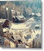A Quaint Village In The Swiss Alps Metal Print