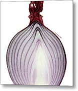 A Red Onion Cut In Half On White Metal Print