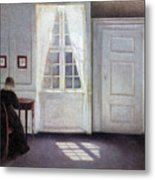 A Room In The Artist's Home In Strandgade, Copenhagen, With The Artist's Wife - Digital Remastered Metal Print