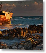A Rusting Wreck, An Abandoned Ship Off Metal Print