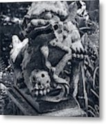 A Stone Gargoyle In The Woods Metal Print