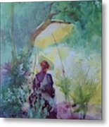 A Woman Sketching In A Glade Metal Print