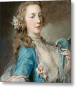A Young Lady With A Parrot Metal Print