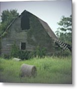 Abandoned Barn And Hay Roll 2018c Metal Print