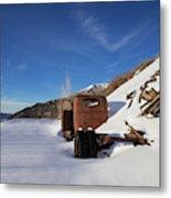Abandoned Vintage Truck In Snow Metal Print