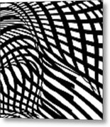 Abstract Black And White Stripe Shape Metal Print