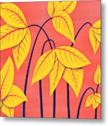 Abstract Flowers Geometric Art In Vibrant Coral And Yellow  Metal Print