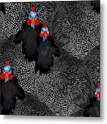 Abstract Illustration Of Two Rooster Metal Print