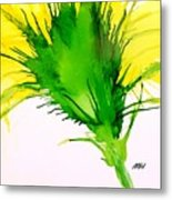 Abstract Ink Yellow Flower Metal Print
