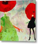 Abstract Sketch Of A Woman In  Green Metal Print