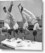 Acrobats Eat While Doing Handstands Metal Print