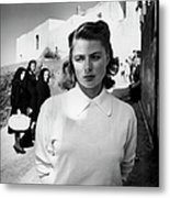 Actress Ingrid Bergman Attracting Metal Print