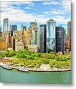 Aerial Panorama Of Downtown New York Skyline Metal Print