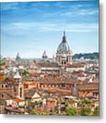 Aerial Panoramic Cityscape Of Rome Metal Print