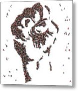 Aerial View Of Fist Symbol Drawn Out Of Metal Print