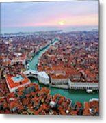 Aerial View Of Rialto Bridge At Sunset, Venice Metal Print