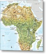 Africa Continent Map With Relief Metal Print
