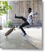 African American Boy Skating At Park Metal Print