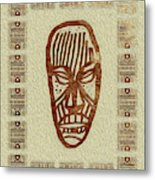 African Tribal Mask Expression 2 Metal Print