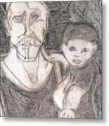 After Billy Childish Pencil Drawing 19 Metal Print