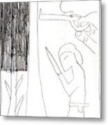 After Mikhail Larionov Pencil Drawing 10 Metal Print