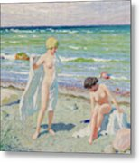 After The Swim  Oil On Canvas Metal Print