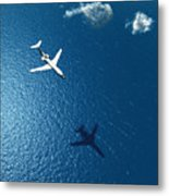Airplane Flies Over A Sea Metal Print