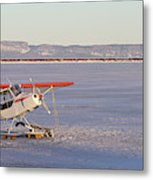 Airplane In The Harbour Metal Print