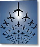 Airplane Silhouettes Fly In V Formation Metal Print