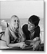 Alain Delon And Brigitte Bardot In Metal Print