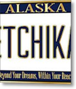 Alaska State License Plate Mockup With The City Ketchikan Metal Print
