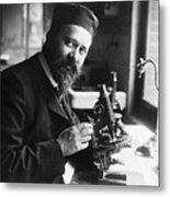 Albert Calmette Working With Microscope Metal Print