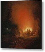 Alexander Lauraeus 1783-1823, La Ferme En Feu Dans La Nuit - 1809 Metal Print