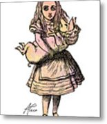 Alice And The Pig Metal Print