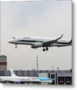 Alitalia Embraer 190 Bird Near Miss Metal Print